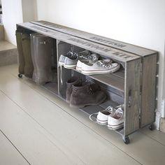 51 ideas storage unit design wooden boxes - For the Home - . - 51 ideas storage unit design wooden boxes – for the home – # Storage unit boxes - Shoe Storage Crates, Boot Storage, Crate Storage, Shoe Storage With Wheels, Diy Storage, Shoe Cubby, Storage Benches, Storage Place, Storage Ideas