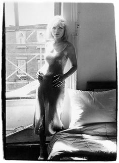 """""""Debbie Harry at the Bowery loft, the scene of numerous impromptu gatherings"""", photo by Chris Stein, ca 1977"""