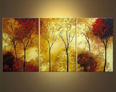 Paisaje abstracto enormes árboles florecientes por OsnatFineArt
