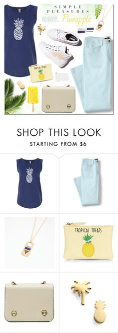 """Pineapple pleasures"" by mada-malureanu ❤ liked on Polyvore featuring Lands' End, Laurence Dacade, New Look, Seoul Little, Estée Lauder, pineapple and thestyledcollection"