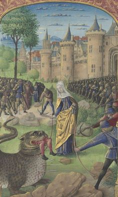Bibliothèque nationale de France, Département des manuscrits, Latin 920, detail of f. 317v (St Martha and the Tarasque). Book of Hours, use of Rome. 15th century