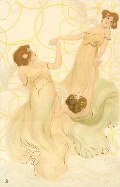 three maidens in yellow-green, left girl looks up & right, middle girl looks front & up, right girl bent  far back looks up - Art by Raphael Kirchner