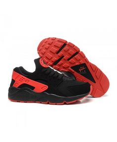 best cheap bbc65 1dada Nike Air Huarache Mens Black University Red NSK1070 Running Shoes On Sale,  Black Running Shoes