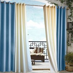 "Blue Gazebo Panel - World Market by Cost Plus World Market. $49.49. Our Blue Gazebo Grommet Top Panel is a grommet-top panel that brings the indoor softness of a living room to a gazebo, porch or any outdoor area. Designed for rain, wind and sun, each panel is light filtering and drapes beautifully. Use it indoors or outdoors. Stainless steel-plated grommets make it easy to hang. Can be used on a rod up to 1¼"" in diameter. Choose from two sizes, 84"" or 96"". Each..."