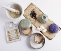 """Display of cosmetics in Goryeo-dynasty ceramic containers. Part of the Coreana Cosmetics Museum's travelling exhibition """"Inspired by Nature – The Traditional Cosmetics of Korea."""""""