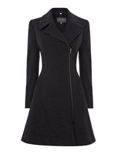 Pied a Terre Assymetric fit and flare wool coat Grey - House of Fraser