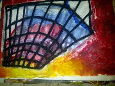 Project: Buildings A study of sunrise through a shopping centre window, done in hand embroidery, paint and cotton wool