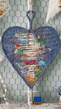 Heart, Wire Heart, Blue Fabric Heart, Denim Patchwork, Shabby Decor, Fabric Art, Gypsy Style, Boho Wedding Decor, Embroidery Wall Hanging