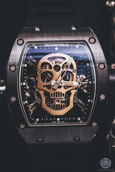 "thefallenn: "" watchanish: "" Richard Mille Skull Tourbillon by Chronopassion. More of our footage at WatchAnish.com. "" damn that's sick """