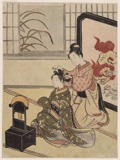 Suzuki Harunobu  . Autumn Moon of the Mirror, from the series Eight Views of the Parlor (Zashiki hakkei)  1766
