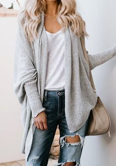 Cozy - Warm - Casual - Love the sleeves - Comfortable. Grey Irregular High-low Oversize Going out Casual Cardigan Sweater Cardigan Casual, Cardigan Gris, Cardigan Long, Cardigan Outfits, Slouchy Cardigan, Oversized Cardigan Outfit, Sweater Cardigan, Cardigan Sweaters For Women, Black Women Fashion
