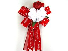 Happy Valentine gift bow Red & white by JDsBowCreations on Etsy