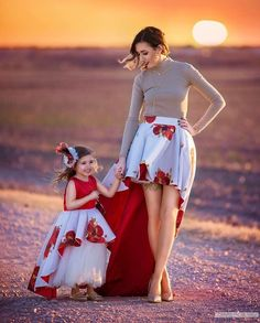 Mommy and me red and white matching skirt and Dress | Rosalina Skirt (For Mommy) | Itty Bitty Toes
