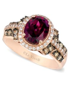 Le Vian Raspberry Rhodolite Garnet Chocolate and White Diamond Oval Ring (2-3/4 ct. t.w.) in 14k Strawberry Rose Gold - Rings - Jewelry & Watches - Macy's