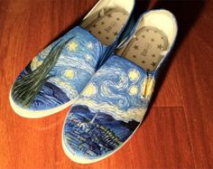 Vincent Van Gogh Starry Night Custom Canvas Shoes! available at   www.facebook.com/thegirlwithfeathers