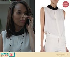 Olivia's white top with button back and contrasting neck on Scandal.  Outfit Details: http://wornontv.net/23220/ #Scandal