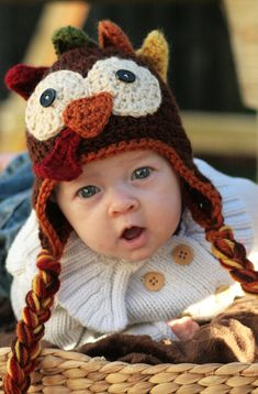 Crocheted Turkey Hat Pattern by ScrapmadeCreations on Etsy, $8.50