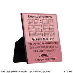 2018 Employee of the Month Desk Calendar by Janz Plaque