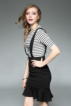 Stripe Fish tail Over Hip Dress Suits – Ewheat