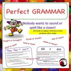 Printable cards to give your students or children need a better of understanding of grammar. These will help! There are 20 cards. Each card deals with a common grammatical or spelling error.The correct usage is explained and examples shown.  I've used these cards as an individual, small group or whole class activity.