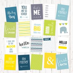 "Scrapbook and journal cards for newborn baby boys. 20 cute cards for instant download. Size 3x4"". Vol 1. by GraphicCorner on Etsy"