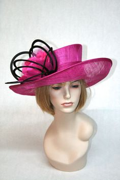 New Church Kentucky Derby Fuchsia Pink Black Sinamay Dress Hat | eBay