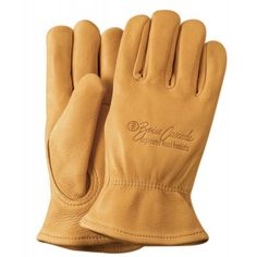 Custom branded with your logo - Premium Grain Golden Deerskin Gloves - great for work and protect your hands Deerskin Gloves, Leather Work Gloves, Safety Gloves, Cotton Gloves, Hand Gloves, Western Riding, Latex Gloves, Sports Uniforms, Deer Skin