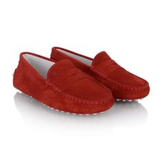 Tods Dark Red Suede Leather Moccasins