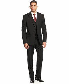 Lauren by Ralph Lauren Suit, Black Vested - Suits & Suit Separates - Men - Macy's