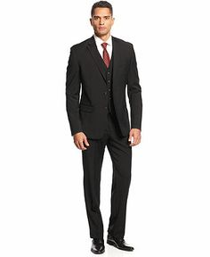 Lauren by Ralph Lauren Suit, Black Vested - Suits & Suit Separates - Men - Macy's