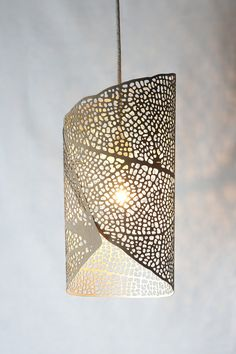Laser cut pendant lamp 'Leaf Roll I' by LetoLab