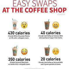 KNOW - COFFEE CALS -- Hi hi! Do you love coffee? But drinking liquid calories is one of the easiest ways to sabotage your fat loss efforts. And coffee is a sneaky one! Black coffee is only calories. Low Calorie Starbucks Drinks, Starbucks Recipes, Coffee Recipes, Healthy Starbucks Food, Healthy Iced Coffee, Starbucks Hacks, Low Calorie Drinks, How To Order Starbucks, Starbucks Secret Menu