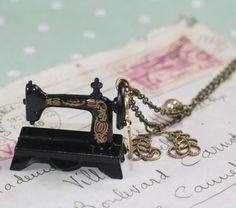 Sewing machine necklace antique singer style brass seamstress - for the sewer in your life. :)