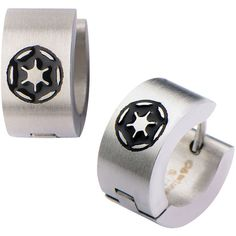Star Wars Stainless Steel Galactic Empire Cog Logo Hoop Earrings ($87) ❤ liked on Polyvore featuring jewelry, earrings, logo earrings, hoop earrings, stainless steel earrings, stainless steel jewellery and stainless steel hoop earrings
