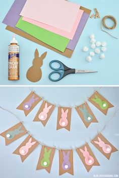 ▷ 1001 + super creative DIY Easter projects in kindergarten - paper garland with rabbit motif with white pompom tail, colorful rabbit silhouettes, easter decorat - Diy Projects Easter, Easter Arts And Crafts, Summer Crafts For Kids, Spring Crafts, Diy For Kids, Holiday Crafts, Kids Crafts, Diy Garland, Easter Garland
