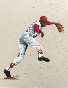 Bob Gibson colored pencil drawing by Ken Karl