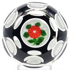 Elegant MAGNUM John  DEACONS Red DAHLIA Overlay Encased Art Glass PAPERWEIGHT  | Pottery & Glass, Glass, Art Glass | eBay!