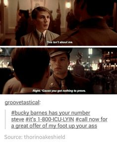 Bucky Barnes has your number Steve << Pretty sure this should NOT be as funny as it is. *sigh*… *snicker*