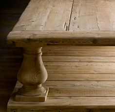Restoration Hardware BALUSTRADE SALVAGED WOOD SQUARE COFFEE TABLE