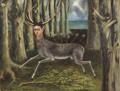 Die Surrealistinnen schlüpften in verschiedene Rollen, verwandelten sich in Tiere oder Fantasiewesen und drückten dabei ihre tiefsten Gefühle oder Wünsche aus. In ihren Selbstbildern trägt Frida Kahlo oft tolle Frisuren, die mit Blumen, farbigen Bändern oder kleinen Tieren geschmückt sind. Das kannst du auch, kombiniere verschiedene Materialien zu einem fantasievollen Haarreif Louise Bourgeois, Diego Rivera, Kahlo Paintings, Frida Kahlo Portraits, Art Eras, Fanta, Frida And Diego, Frida Art, Mexican Artists