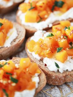 Toasted ricotta and maple butternut squash with chili flakes. YUM!
