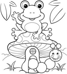 cute spring coloring pages | Coloring pages: frog, butterfly, and flower with ladybug ...