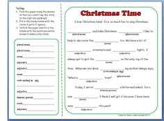 Christmas Mad Lib Activity