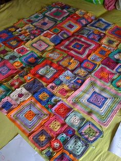 Looks like an awesome idea for a quilt looking crochet afghan