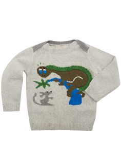 Stella McCartney Kids Age 6M to 18M Grey Dippy Dinosaur Knit Jumper