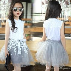 Chiffon Skirt Sets Outfit 2Pcs Toddler Baby Girls Skirt Suit Funny Letter Printed Tops