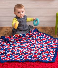 Patriotic Hexagon Baby Blanket Free Crochet Pattern from Red Heart Yarns
