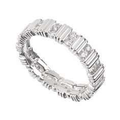 0.90 Ct Tw D/VVS1 Round Cut Eternity Wedding Band Ring 14K White Gold Over by JewelryHub on Opensky