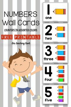 These number wall cards for preschoolers are great for learning numbers. Features include big numerals, number words and colorful pencil counters. Numbers Preschool, Free Preschool, Learning Numbers, Preschool Printables, Preschool Classroom, Free Printables, Preschool Ideas, Classroom Ideas, Daycare Ideas