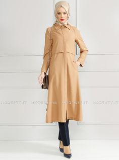 islamische kleidung fuer frauen mymodestystyle.com besuchen sie unsere shop #hijab #abayas #tuekische kleider #abendleider #islamischekleidung  Hidden Button Topcoat - Camel - Refka - <p>Fabric Info:</p> <p>100% Polyester</p> <br> <p>Unlined</p> <p>Weight: 0.566 kg</p> <p>Measures of 38 size:</p> <p>Height: 123 cm</p> <p>Bust: 92 cm</p> <p>Waist: 84 cm</p> <p>Hips: 98 cm</p> - SKU: 185232. Buy now at http://muslimas-shop.com/hidden-button-topcoat-camel-refka.html